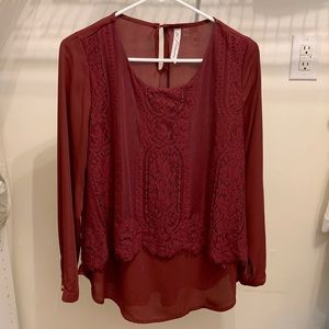 NY Collection Burgundy Lace Layer Top